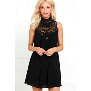 Black Lace Neck Swing Dress